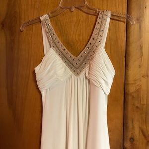Beaded Ecru Jersey Gown - White House Black Market